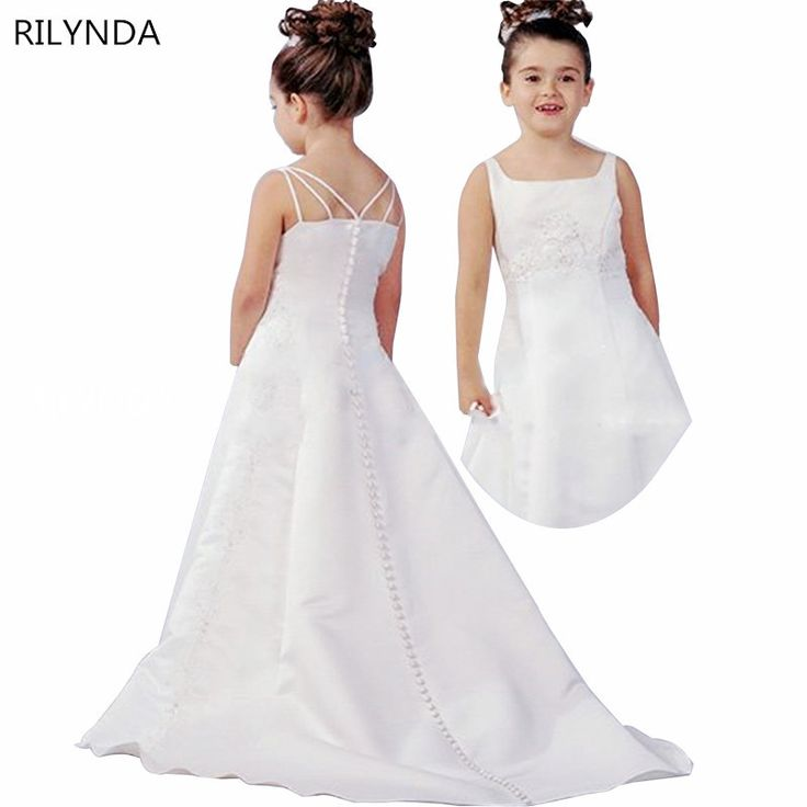 ==> [Free Shipping] Buy Best Ivory Mermaid Flower Girl Dresses High Low Scoop Sleeveless Floor Length Satin Satin cloth Ball Gown Kids Wedding Party Dresses Online with LOWEST Price | 32743112899