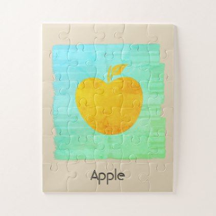 Custom Bright Apple Fruit Watercolor Puzzle - birthday gifts party celebration custom gift ideas diy