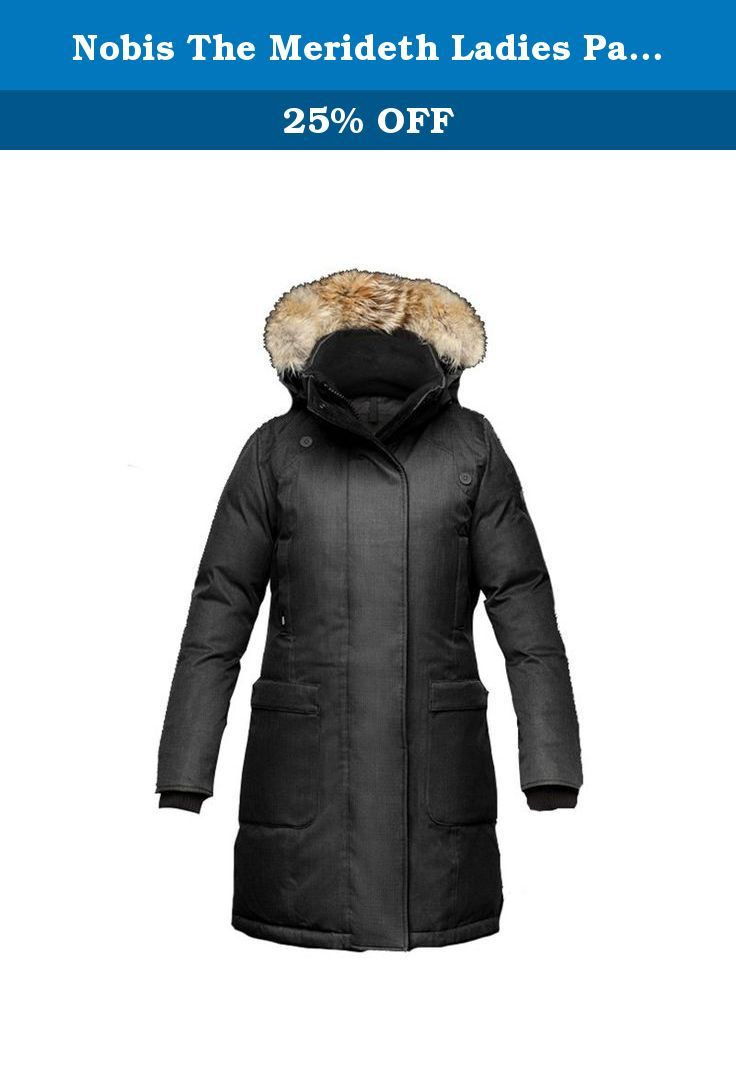 Nobis The Merideth Ladies Parka - FW15 (XX-Small, Crosshatch Black). The Merideth Ladies Parka Technical Features Premium Canadian origin white duck down for ultimate warmth Laminated Sympatex membrane Seam seal construction Windproof and waterproof (10,00mm) Breathable (10,000mm) outer shell DWR (Durable Water Repellent) coated Design Features: Highly breathable down proof free hanging liner Two-way zipper Centre front wind flap with convenient magnetic vclosures Interior zip stash…