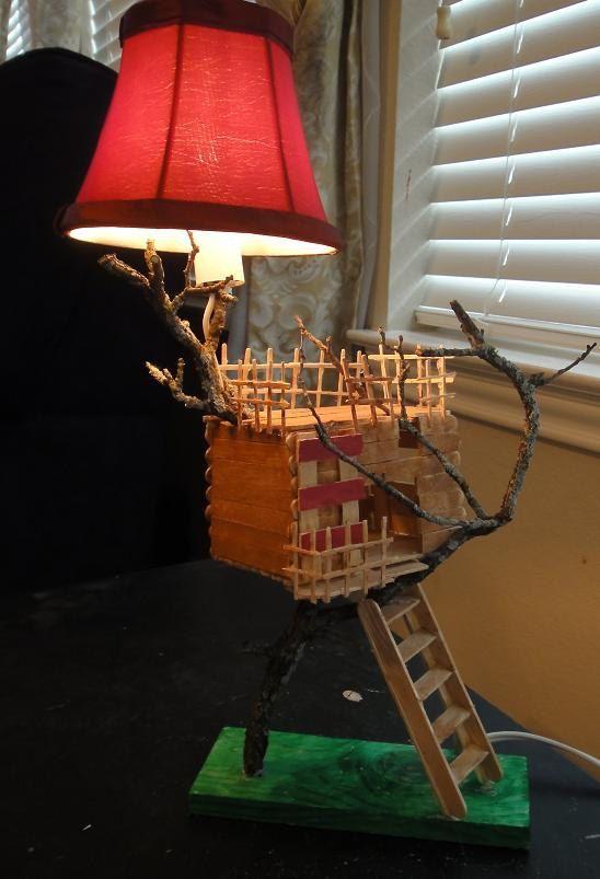 Treehouse night light lamp - popsicle stick wood minature house craft. $10.00, via Etsy.