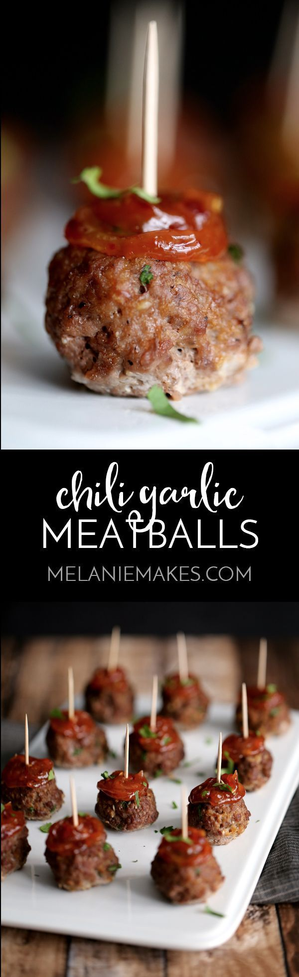 These Chili Garlic Meatballs are the perfect appetizer for game day, a holiday or any day of the week! Easy oven baked meatballs are spiked with garlic, ginger and cilantro before being adorned with an amazingly flavorful chili garlic sauce.