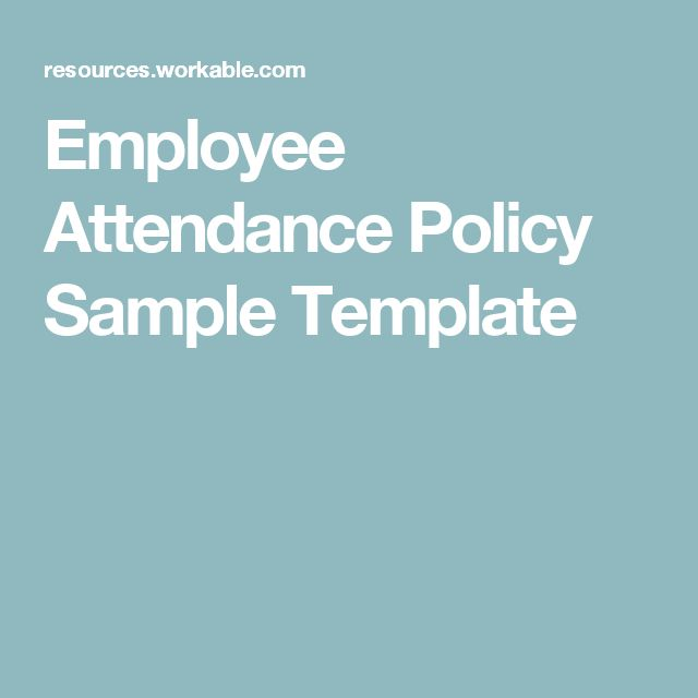 Employee Attendance Policy Sample Template
