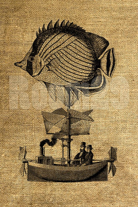 INSTANT DOWNLOAD  pesce dirigibile illustrazione d'epoca di room29, $3.00