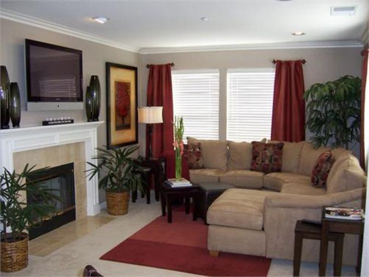 Living Room color scheme; tan and maroon | Living Room Ideas ...