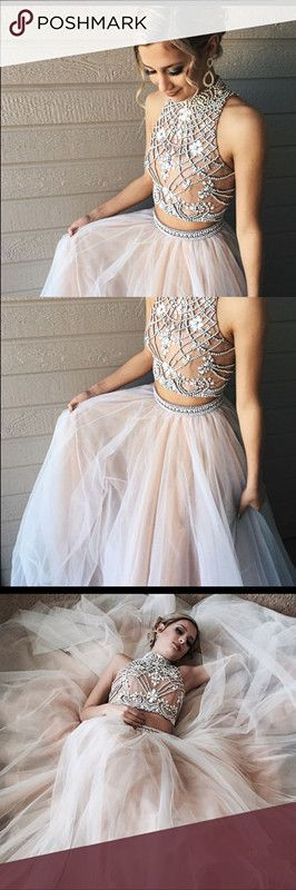two piece prom dress, gorgeous prom dress ,open back prom dress,champagne tulle beaded bodice prom gowns for 2017 teens