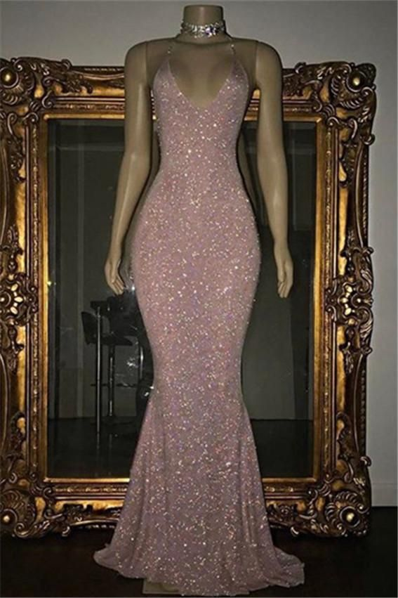 b77fbc62d025 Rose Pink Sequined Evening Gown Long Spaghetti Strap Mermaid Sleeveless Prom  Dress