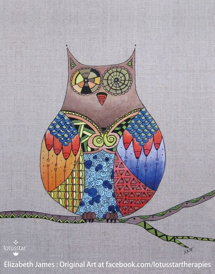 'Clockwork Owl' in acrylic and ink on natural raw linen canvas board by Elizabeth James. Reproduction available via http://www.facebook.com/media/set/?set=a.675692062503221.1073741835.318539891551775&type=3  #owl #acrylic #painting #ink #zentangle #art #elizabethjames #lotusstar #adelaide