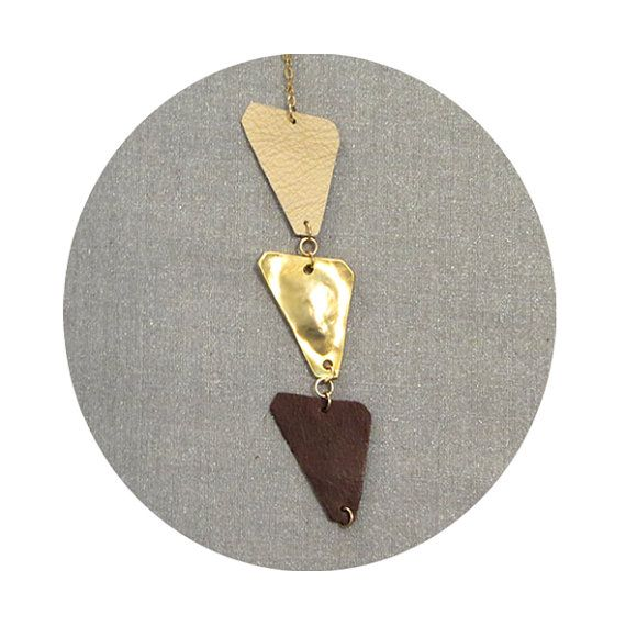 Three triangles Leather necklace by maayanhus on Etsy