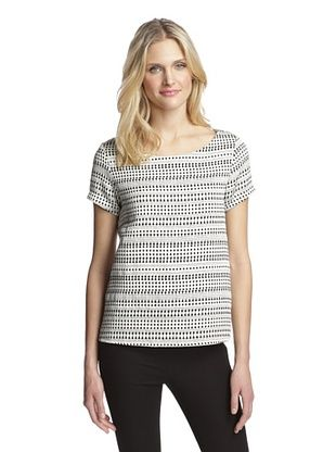 63% OFF Hutch Women's Short Sleeve Top (Black/White Pick Stitch)