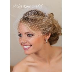 """French Visor Veil 18"""" with Pearl Accents"""