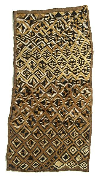 Kuba cloth, DR Congo | This special wrap was worn outside, or on top of, the long dance dresses for added decoration and prestige. Made from raffia.
