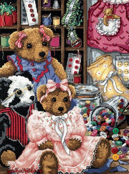 Набор для вышивания Dimensions 20048 Bear Button Trouble Плюшевые медвежата и пуговицы