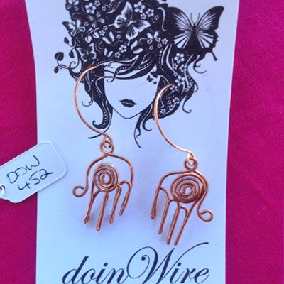 doinWire handcrafted copper wire Earrings handmade copper ear-wires, hand with swirl. DOW452