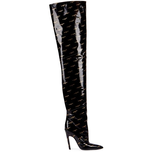 649df1290394 Balenciaga Logo-Print Patent Over-The-Knee Boot, Noir (Black) (€1.910) ❤  liked on Polyvore featuring shoes, boots, patent leather thigh high boots,  ...
