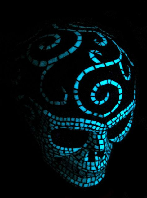 Glowing Mosaic Skull (top view) by IndarNation, via Flickr