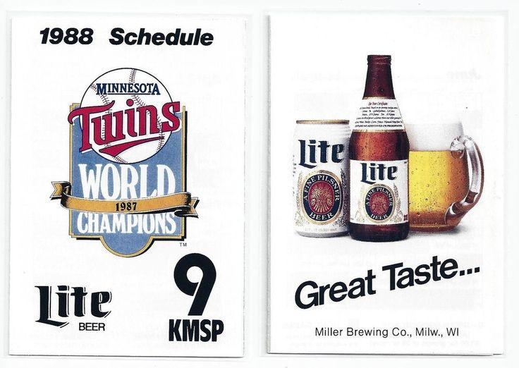 1988 Minnesota Twins Pocket Schedule Lite Beer KMSP 9 Puckett Hrbek Gaetti