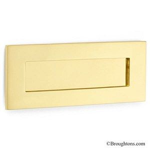 Traditional Letter Plate Polished Brass Unlacquered 250mm