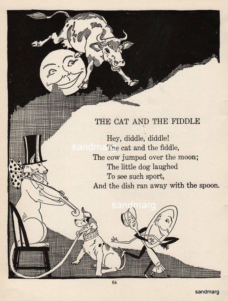 Hey diddle diddle, Vintage nursery and Nursery rhymes on