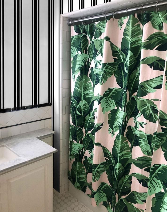 Pacifico Palm Shower Curtain Pink Green Bathroom Ivory
