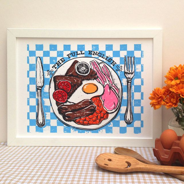 Linocut Full English Breakfast Print Kitchen By WoahTherePickle,