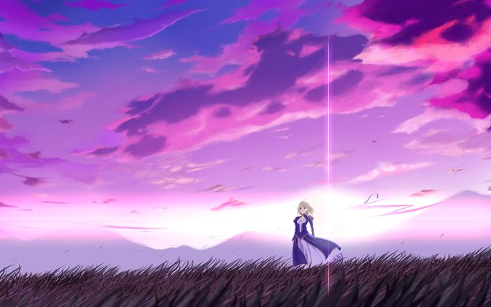 Download wallpapers 4k, Saber, manga, nightscape, Fate Stay night, TYPE-MOON