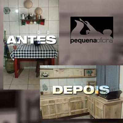 Pequena Oficina: Gabinete Cozinha com Madeira Reaproveitada