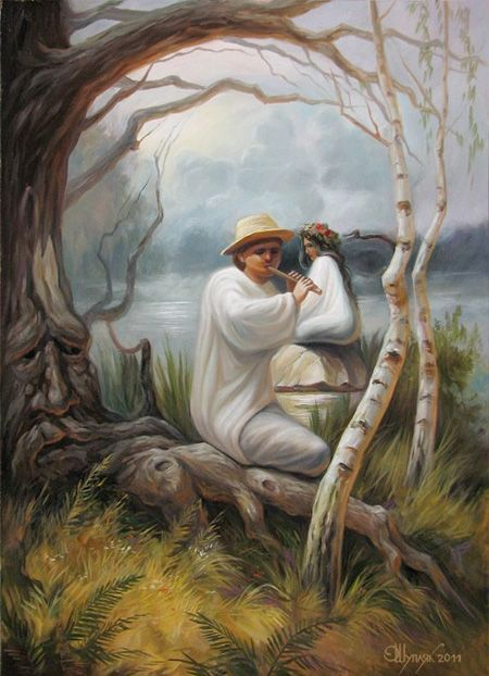 A Face Of A Person, or The Couple Relaxing Under The Tree.---Painting Illusions (1)