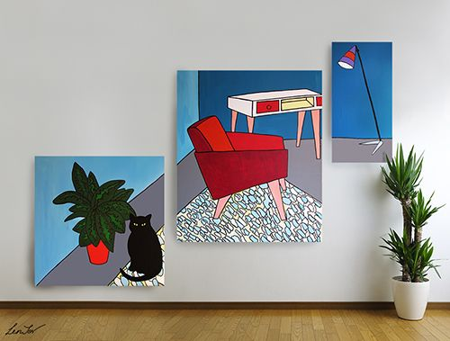 """Room 60's"" (tryptich) / Acrylic (canvases) / #art #illustration #interior"