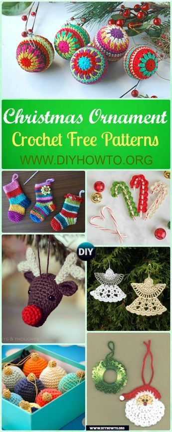 Crochet Bauble Ornament, Reindeer, Christmas Tree, Snowflake, Santa and More Ornament Patterns via @diyhowto - #Crochet Christmas #Ornament Free Patterns