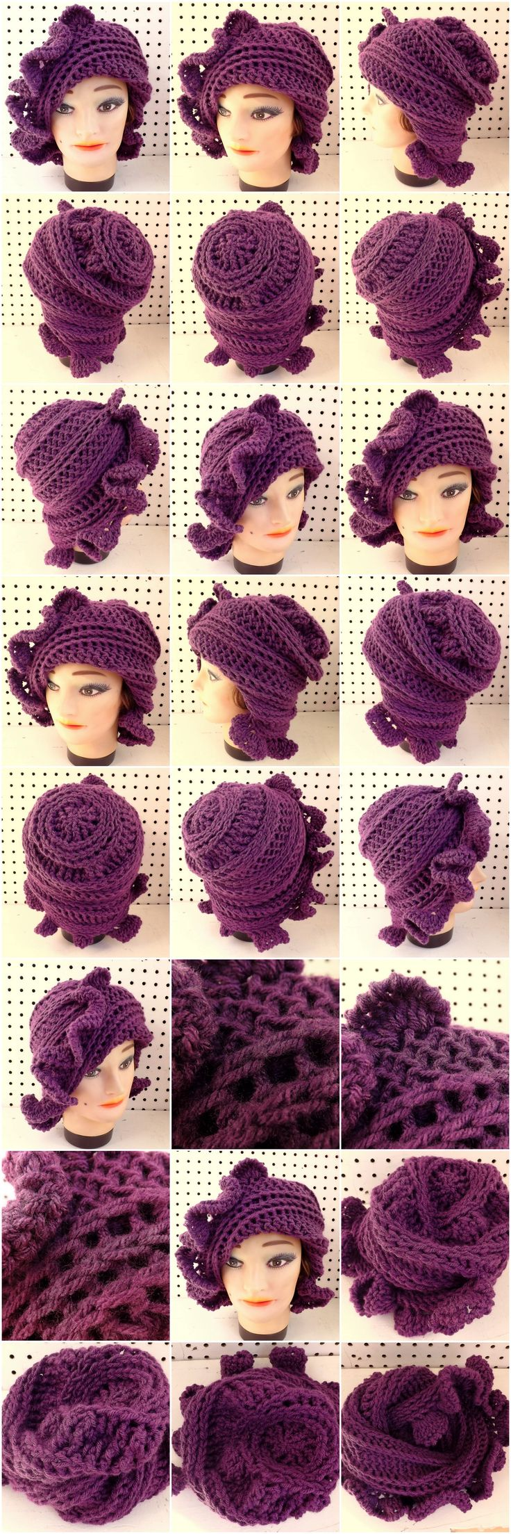 CYNTHIA Crochet Beanie Hat in Mixed Berry Purple