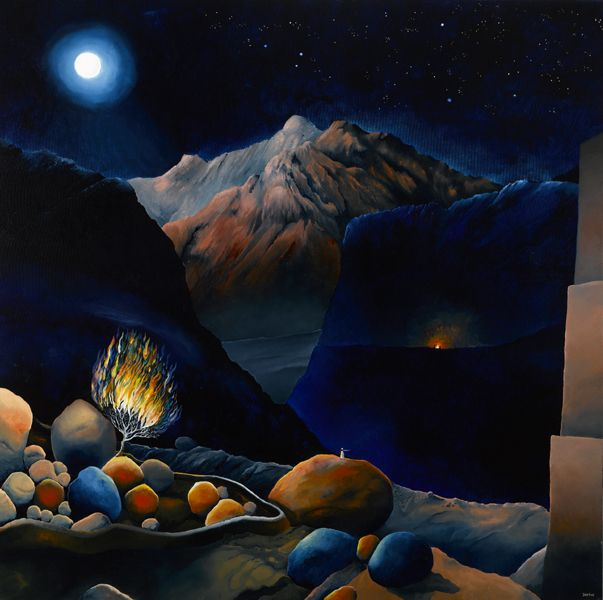 Darius Gilmont, Moses and the Burning Bush, envisaged as a night scene in a Sinai-like mountainous setting.