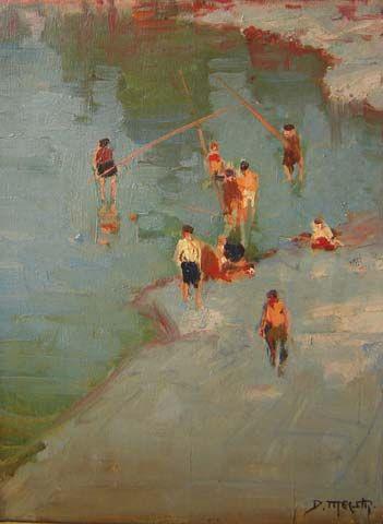 Dario Mecatti (1909-1976) - Meninos Pescando