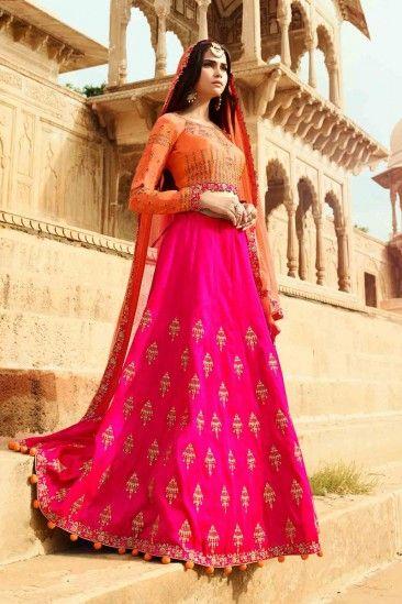Rani Raw Silk Lehenga With Banarasi Silk Choli - DMV12448