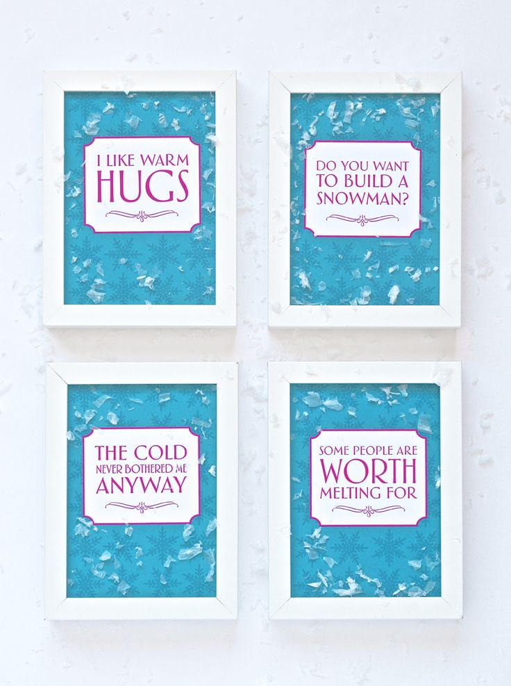 Click the link above to download our free printable pack of Frozen movie quotes. Perfect to print and frame as party decor at a Frozen birthday party. The file includes each of the four quotes as 4...