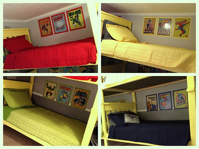 Superhero Bedroom With 2 Bunk Beds! So Cute, Maybe If All 3 Boys Share A  Room Someday.