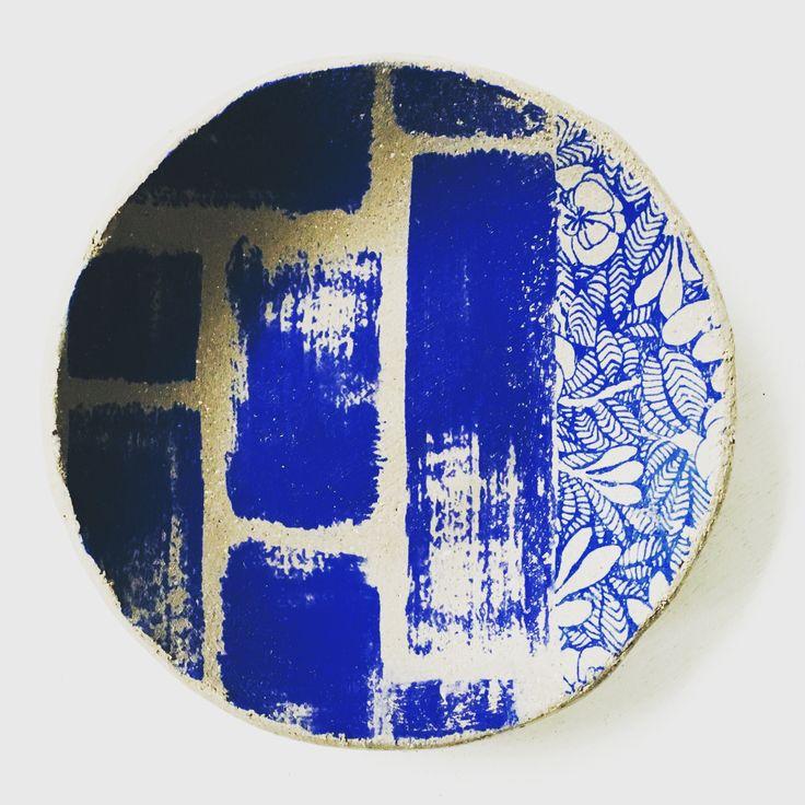 Ceramic dish hand printed
