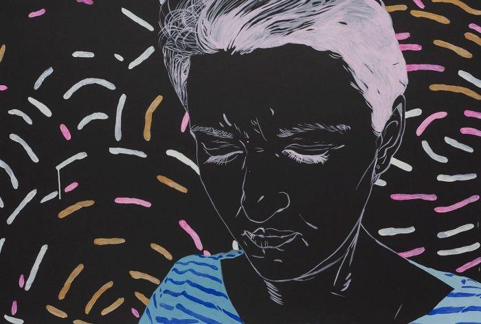 Agnieszka Sandomierz, no title, marker on cardboard, figurative art, portrait, black, pink, blue, modern art, modern portrait, polish art