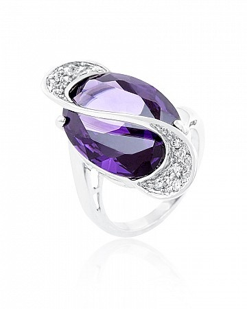 Valentina 12ct Amethyst CZ White Gold Rhodium Cocktail Ring for $14.00 at Baubles.