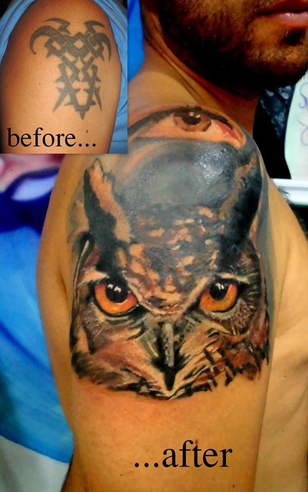 Owl Cover up by Tulipan in Salvador Tattoo & Art in Marbella, Spain