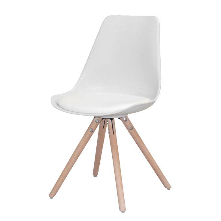 Polsterstuhl Trönö (4er-Set) - Kunststoff / Kunstleder - Weiß