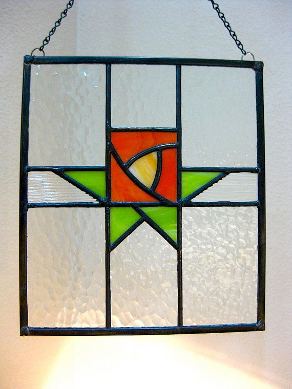 Stained glass panel Craftsman Rose lime orange art deco cottage chic