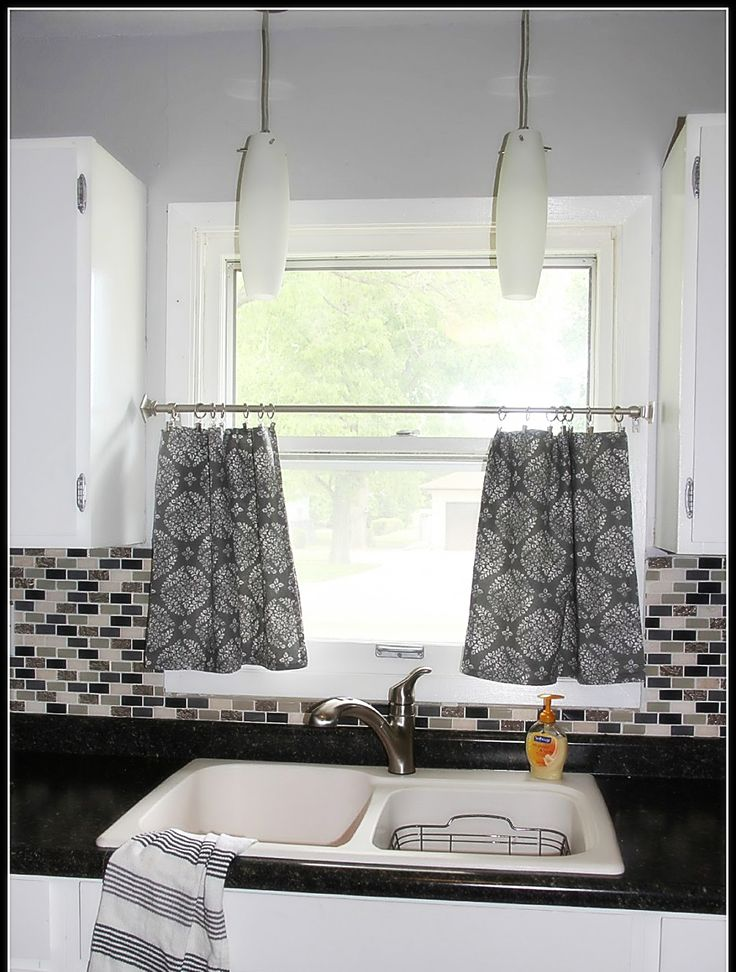 Lovely Black And Grey Kitchen Curtains
