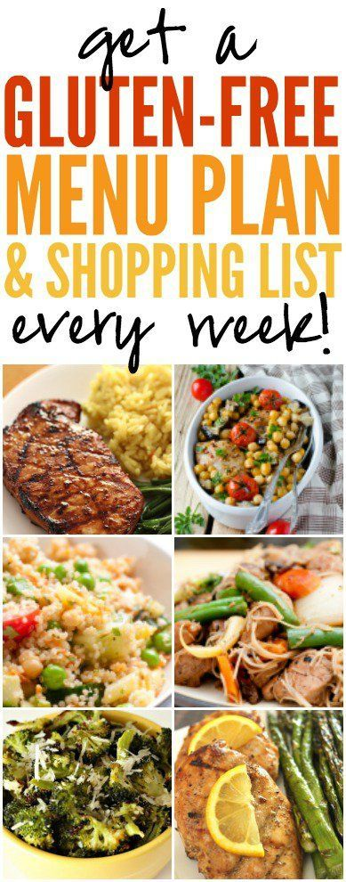 Gluten-Free Menu Plan and Shopping List EVERY Week! #healthy #eating