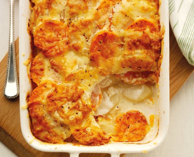 Two Potato Dauphinoise with Quark. Recipe by Tom and Henry Herbert – a.k.a. TV's The Fabulous Baker Brothers