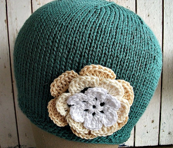 Soft Bamboo Knitted Hat with Flower Gift for Her by wishestogether, $24.50
