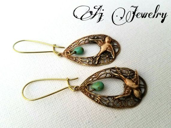 Check out this item in my Etsy shop https://www.etsy.com/listing/480022372/sparrow-turquoise-earrings #ajjewelry #jewelry #earring #sparrow