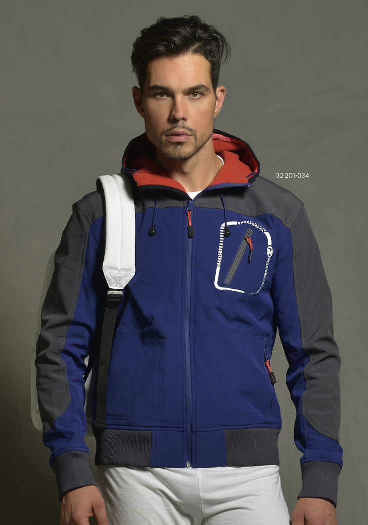 Men's jacket in neoprene quality with hood. www.biston.gr