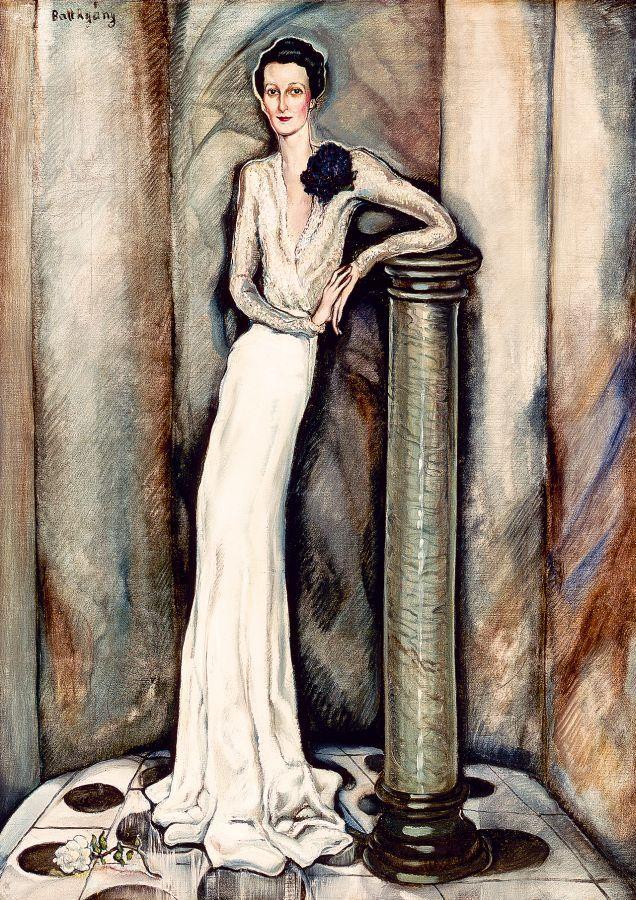 Batthyány Gyula (1887-1959): Arisztokrata hölgy fehér selyemestélyiben, ibolyacsokorral 1935 körül