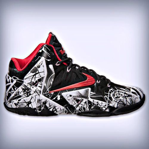 Nike Lebron XI 11 Graffiti White University Red Black Maimi Heat 616175 100 | eBay