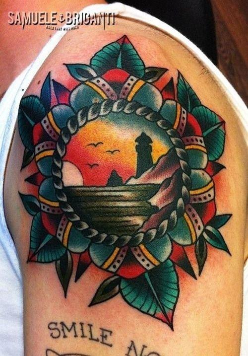 tattoo old school / traditional ink - mandala flower with lighthouseSamuele Briganti